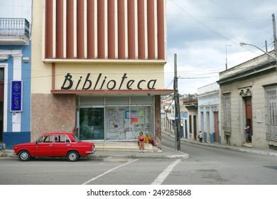 MATANZAS, CUBA - DECEMBER 14, 2014: A city intersection in Matanzas, Cuba.