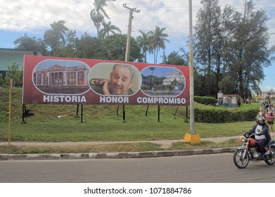 MATANZAS, CUBA - January 4, 2018: Banner Cuban propaganda on the street.