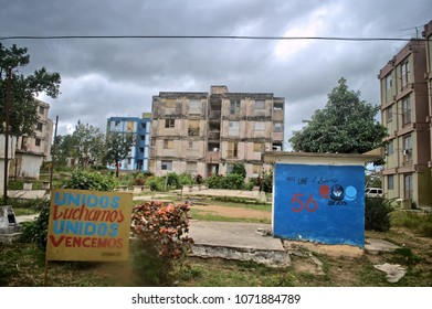 MATANZAS, CUBA - January 4, 2018: Residential houses in a Cuban province.