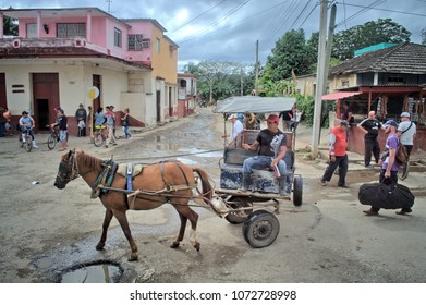 MATANZAS, CUBA - January 8, 2018: Street scene in a provincial town.