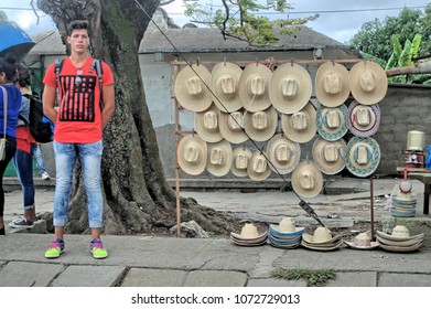 MATANZAS, CUBA - January 8, 2018: Street sale of hats in a provincial town.