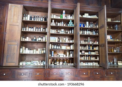 MATANZAS, CUBA - MAY 10: This old Colonial pharmacy, known as Botica La Francesa, was founded by Dr Ernesto Triolet in 1882 and stands unchanged today in the city of Matanzas, Cuba. May 10, 2014