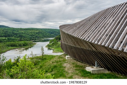 """Matapedia, Qc, Canada - June 7th 2020: A unique wooden belvedere (""""Belvedere des Deux Rivières"""") in the small town of Matapedia in Quebec, Canada, with view on the Matapedia and Risitgouche rivers"""