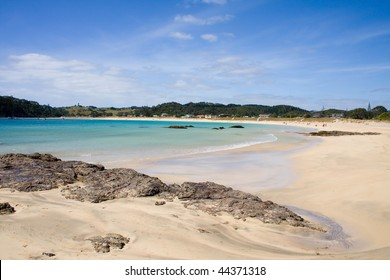 Matapouri Bay on a bright sunny day, a popular tourist destination in Northland, New Zealand