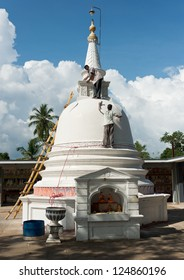 MATARA, SRI LANKA - NOVEMBER 07: Stupa restoration on the buddhist Veherahena temple yard on November 07, 2012 in Matara, Sri Lanka. Veherahena is famous temple is 2 km from the town centre.
