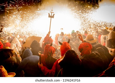 Mataro, Barcelona / Spain 08 26 2018: Traditional catalonian festival of the Correfocs, party with fireworks