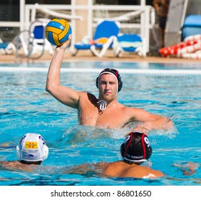 MATARO, SPAIN - OCTOBER 12: Unidentified water polo player in action during the Spanish League match between Mataro and CN Terrassa, final score 7-6, on October 12, 2011, in Mataro, Barcelona, Spain.
