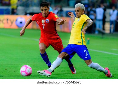 The match between Brazil and Chile for the 2018 FIFA World Cup Russia Qualifier at Allianz Parque Stadium on October 10, 2017 in Sao Paulo, Brazil.