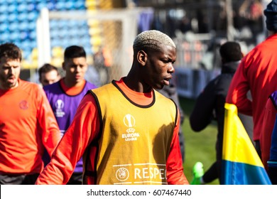"""Match between the football club """"Rostov"""" and the football club """"Manchester United"""" in the city of Rostov-on-Don. 09.03.2017  Paul  Pogba"""