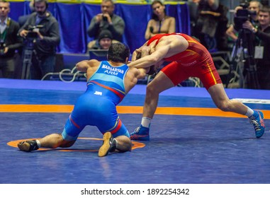Match between Semyon Radulov (UKR) vs Valter Margaryan (ARM) during World Wrestling Club Cup, December 1, 2016, Kharkov, Ukraine