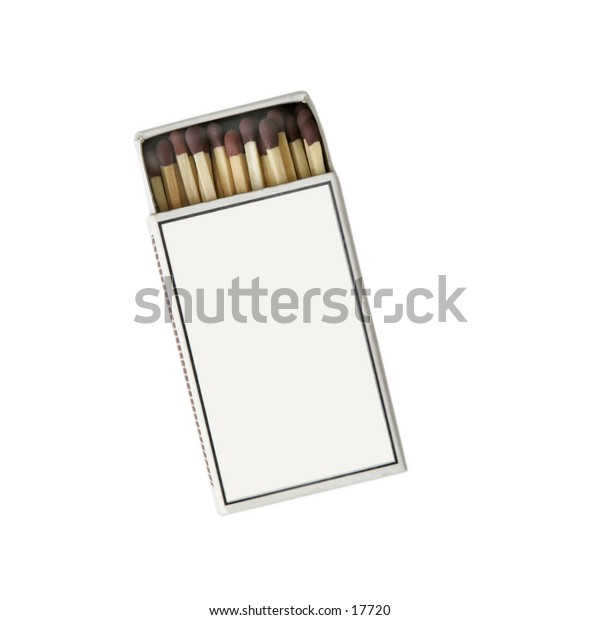 A match box isoalted on white with clipping path.  The box is blank so you may enter your own message on it.
