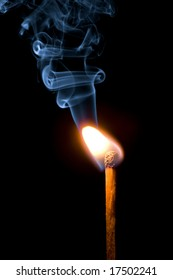 match burning with smoke isolated
