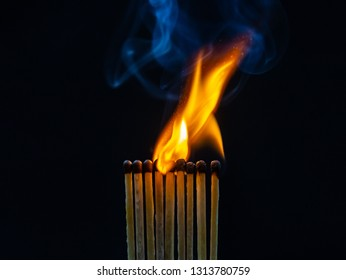 match, matches, smoke, black background and flame