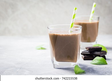 Matcha chocolate mint chia pudding. Selective focus, copy space, close up.