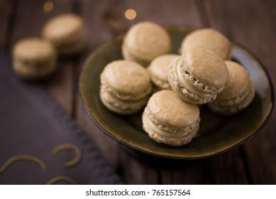 Matcha French Macaroons with lemon zest