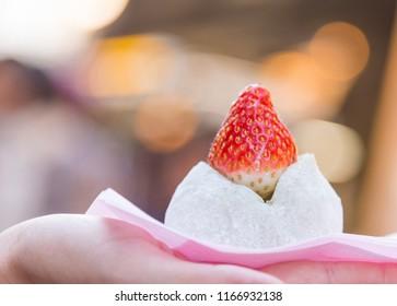 Matcha with fresh Strawberry Daifuku in hand. Azuki Red Bean Strawberry Daifuku. Tokyo sweet Hokkaido Snow Strawberry Daifuku.