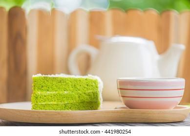 Matcha Green tea cake, tea and cake