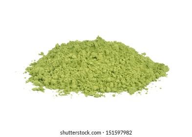 Matcha green tea on a white background