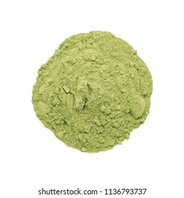 Matcha green tea powder isolated on white background.