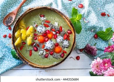 matcha green tea smoothie bowl and exotics fruits