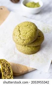 Matcha greentea cookies set on cafe table.