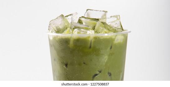 Matcha ice cube drink close-up