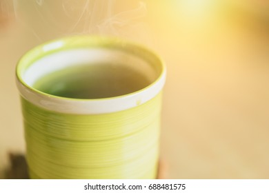 Matcha Japanese healthy drink. Hot Green tea drinking after food meal for good health.