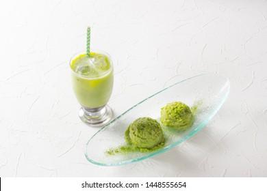 Matcha (Japanese powder tea) and soy milk healthy drink