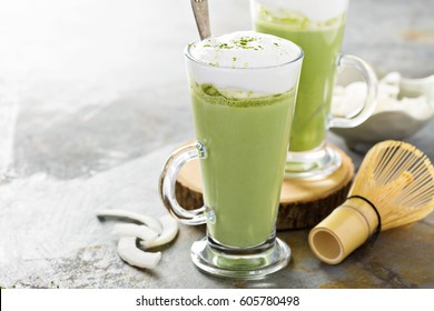 Matcha latte with coconut milk in tall glasses
