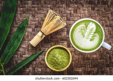 Matcha latte and matcha green tea