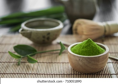 Matcha. Organic Green Matcha Tea ceremony. Matcha powder. Cooking with matcha, recipe