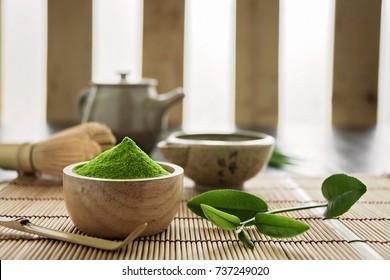 Matcha. Organic Green Matcha Tea ceremony. Matcha powder. Cooking with matcha, recipe