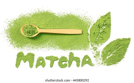Matcha word by powdered matcha green tea with wooden spoon