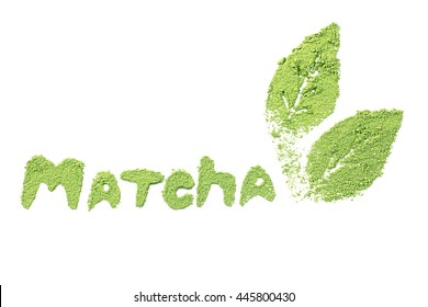 Matcha word by powdered matcha green tea, isolated on white