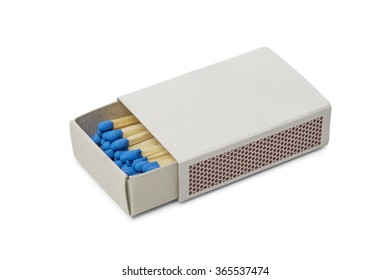 Matchbox with blue matches isolated on white background