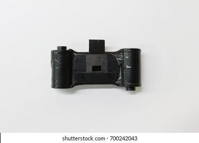 Matchbox pinhole camera on clear background. Do it by you self camera.