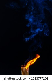 Matches, flame, burn, smoke and silhouette