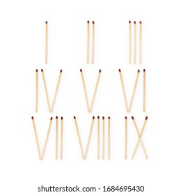 matches laid out as roman numerals from 1 to 9 are isolated on a white background.