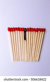 Matches are made of wood. White background