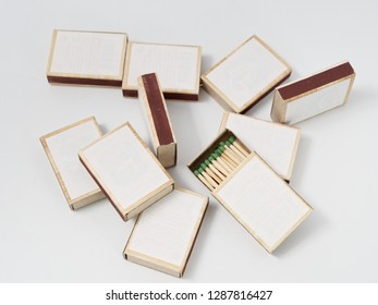 matches sulfur in a cardboard box on a white background.