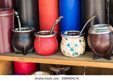 Mate gourds for sale as popular souvenirs from Argentina and Uruguay.