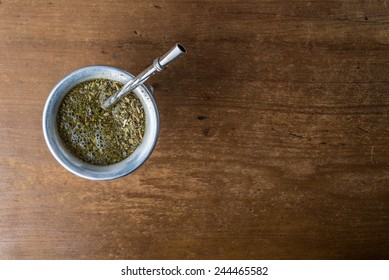 Mate Herbs Drink traditional from Argentina, Straw.