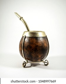 Mate tea (chimarrao) brown drinking gourd - isolated