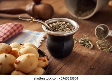 Mate tea whit cheese bread called chipa