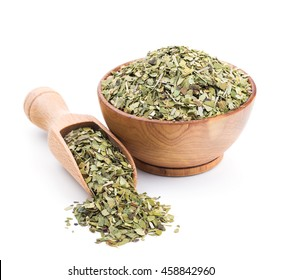 Mate tea in a wooden bowl isolated on white