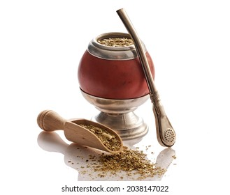 Mate yerba tea. Calabash and bombilla on white background. Traditional argentinian beverage.