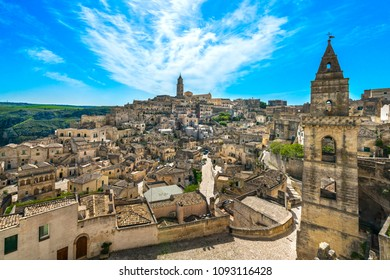 Matera ancient town i Sassi, Unesco world heritage site landmark. Basilicata, Italy, Europe