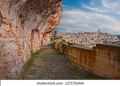 Matera, Basilicata, Italy: alley carved in the rock with the old cave houses in the ancient Italian city European capital of culture 2019