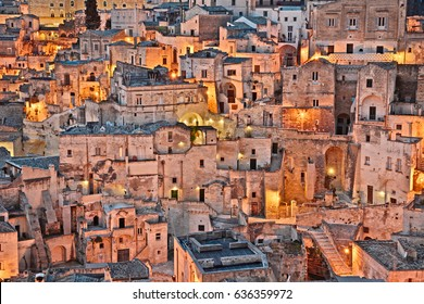 Matera, Basilicata, Italy: cityscape at sunrise of the picturesque old town (sassi di Matera), European Capital of Culture 2019