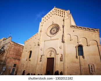 MATERA, BASILICATA (ITALY) -  DECEMBER 29 - The facade of Matera cathedral inside the ancient part of the town (Sassi di Matera), European Capital of Culture 2019 on december 29, 2018 in Matera